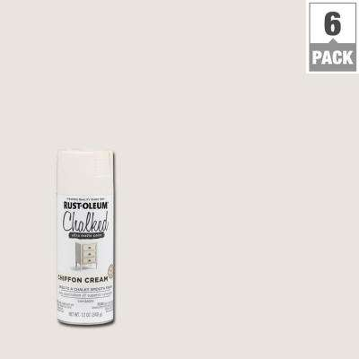 12 oz. Chalked Chiffon Cream Ultra Matte Spray Paint (6-Pack)