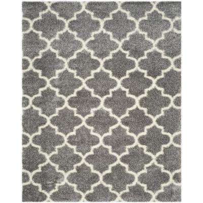 Montreal Shag Gray/Ivory 8 ft. x 10 ft. Area Rug