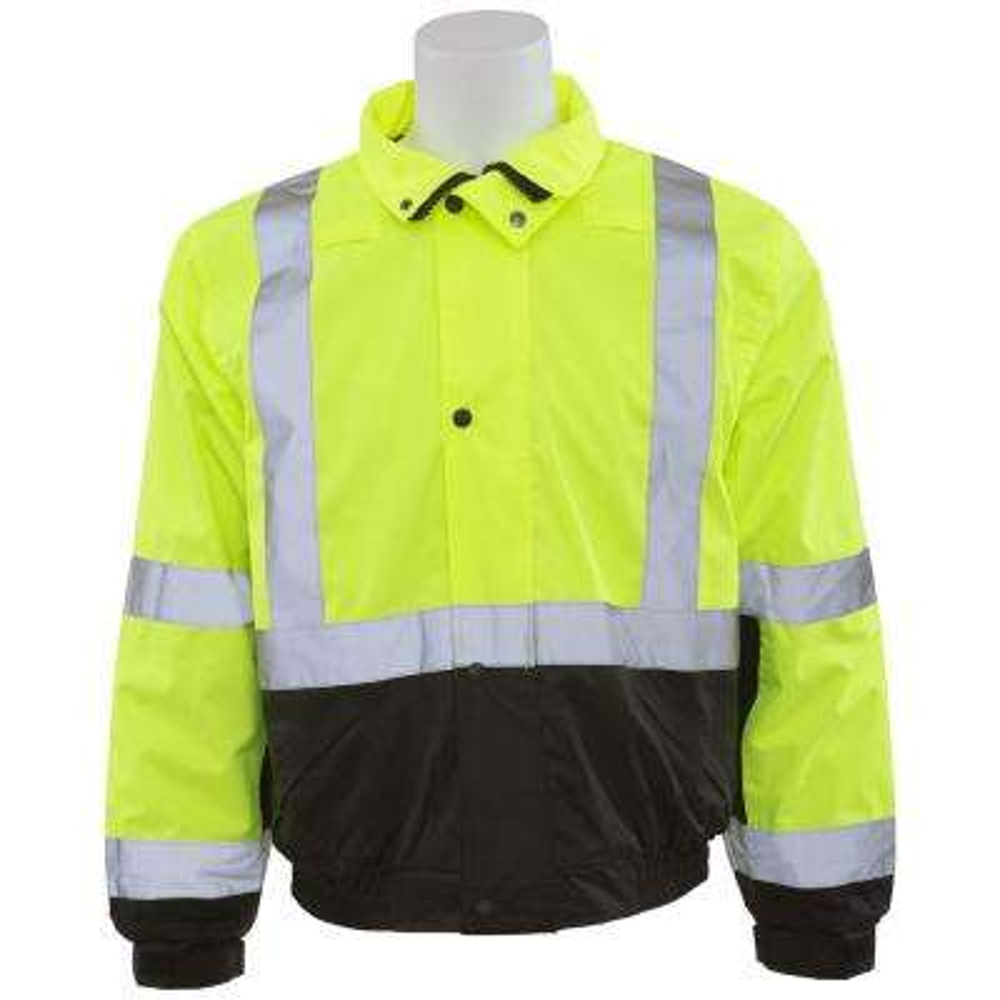 W106 LG Hi Viz Lime/Black Bottom Poly Bomber Jacket with Hood