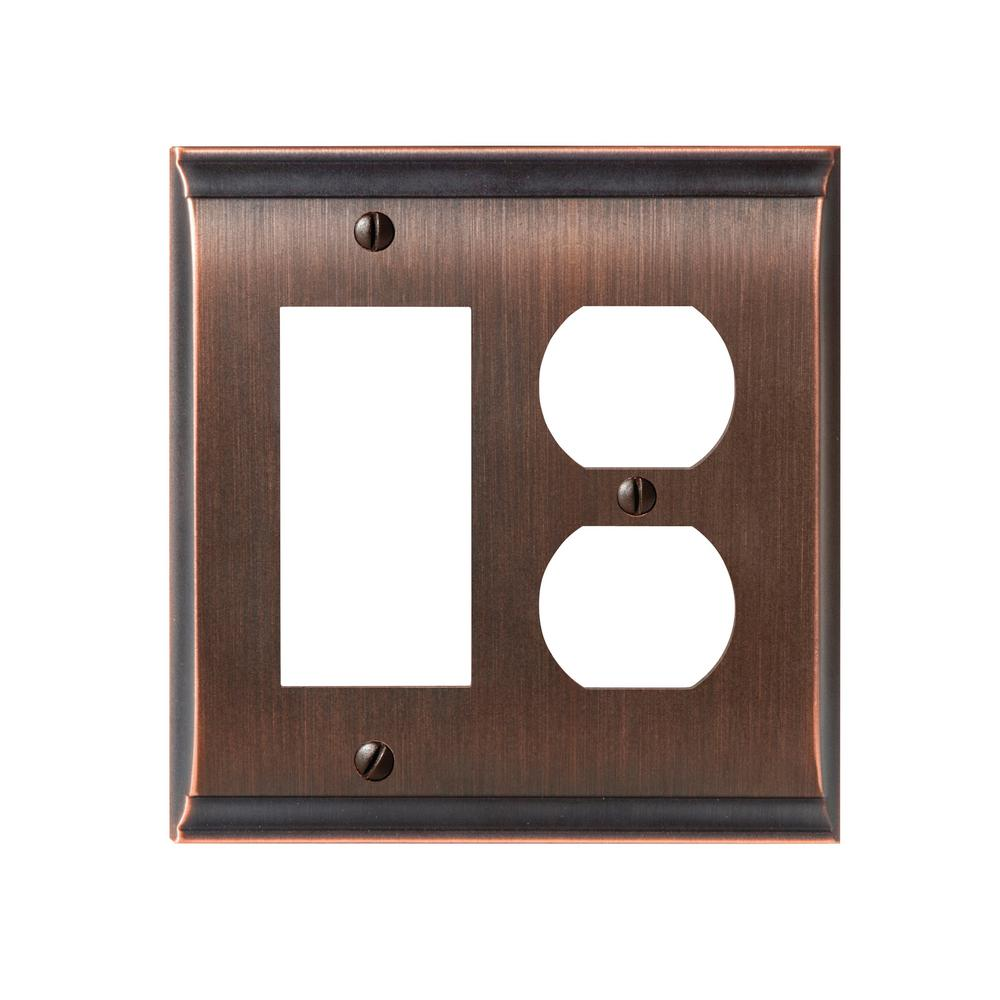 Candler 1 Rocker and 1-Duplex Outlet Combination Wall Plate, Oil-Rubbed Bronze