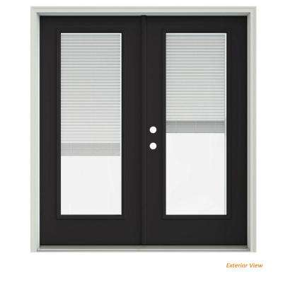 72 in. x 80 in. Chestnut Bronze Painted Steel Right-Hand Inswing Full Lite Glass Stationary/Active Patio Door w/Blinds
