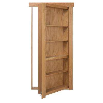 30 in. x 80 in. Assembled Natural Stained Oak Flush Mount Bookcase Wood Single Prehung Interior Door