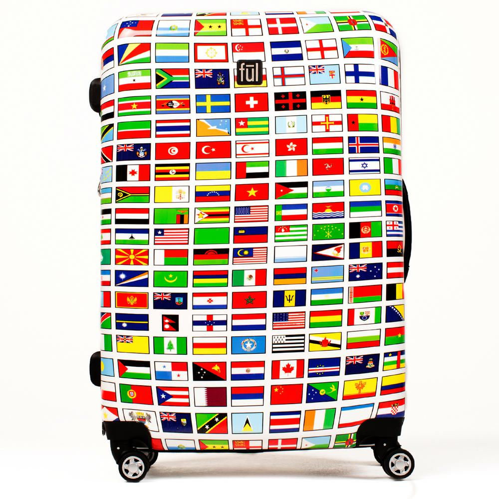 Flags 24 in. Spinner Rolling Luggage Suitcase, Upright ABS Plastic Hard
