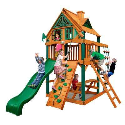 Chateau Tower Treehouse with Timber Shield Cedar Swing Set