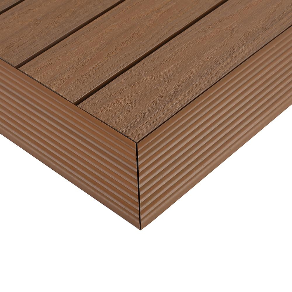 NewTechWood 1/6 ft. x 1 ft. Quick Deck Composite Deck Tile Outside Corner Trim in Peruvian Teak (2-Pieces/Box)