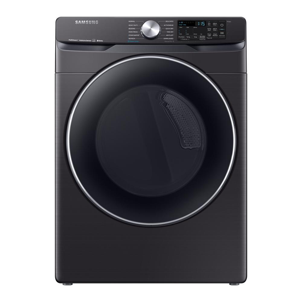 Samsung 7 5 Cu Ft Fingerprint Resistant Black Stainless Gas Dryer With Steam Sanitize Dvg45r6300v The Home Depot