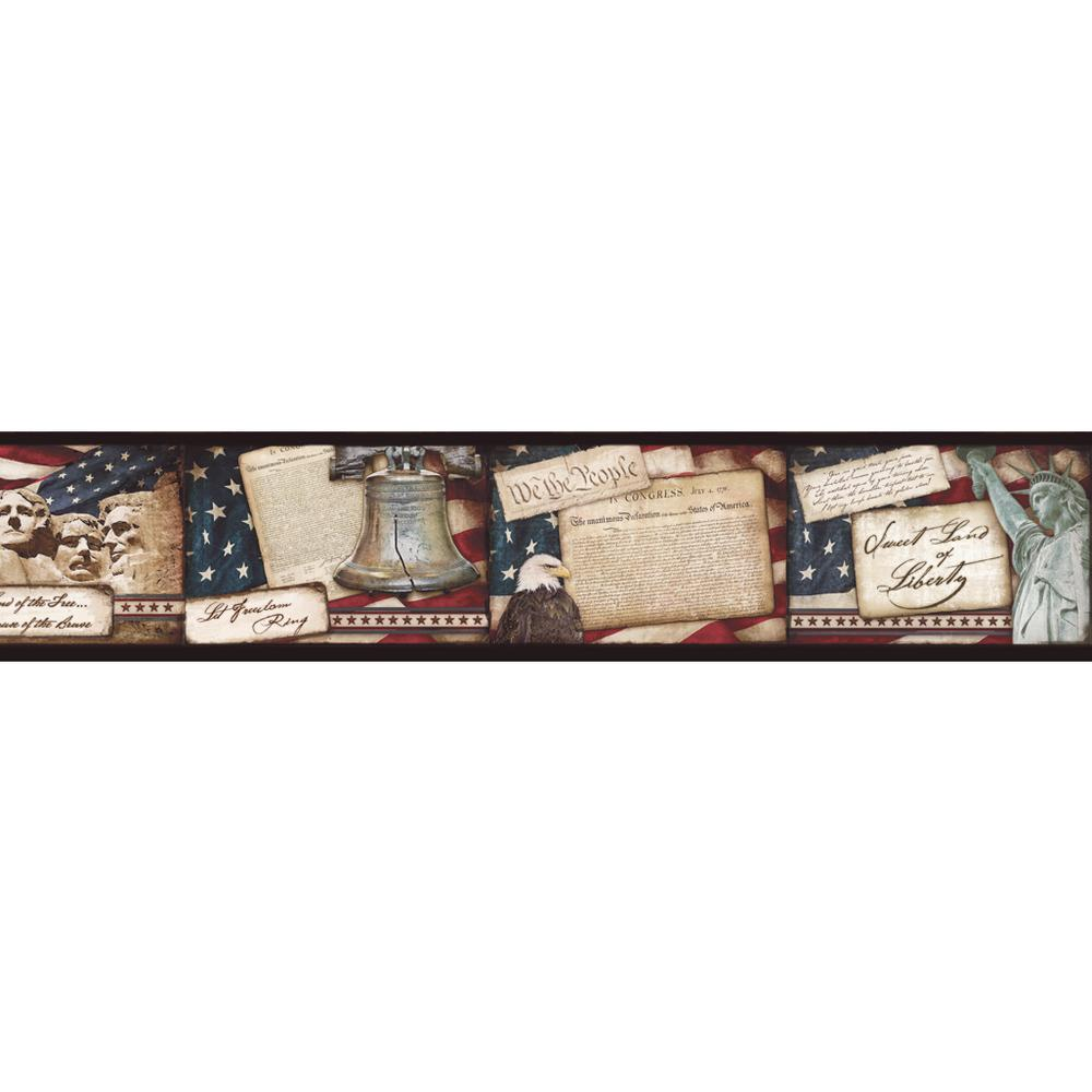 Franklin Liberty Rings Blocks Wallpaper Border