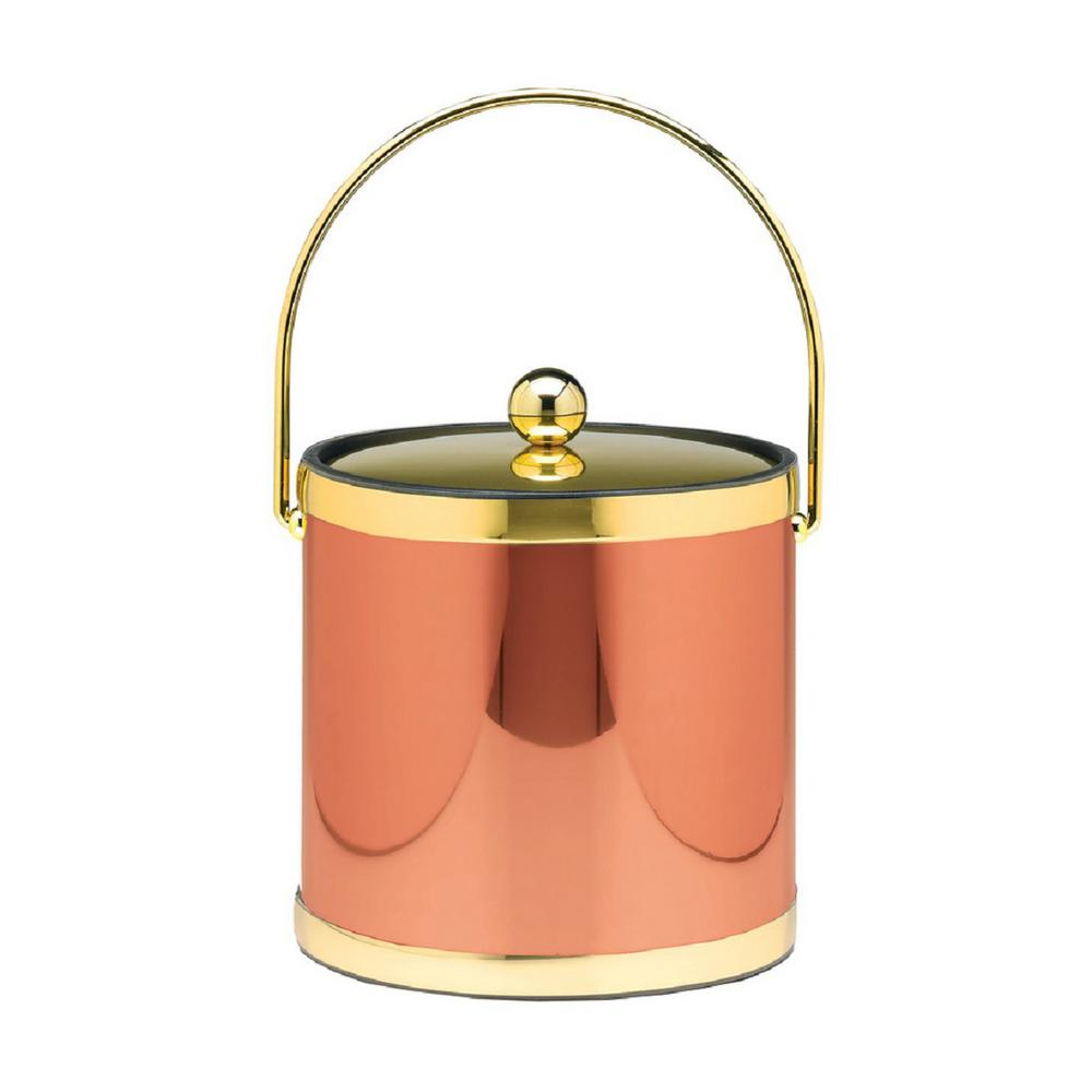 Mylar 3 Qt. Polished Copper and Brass Ice Bucket with Bale