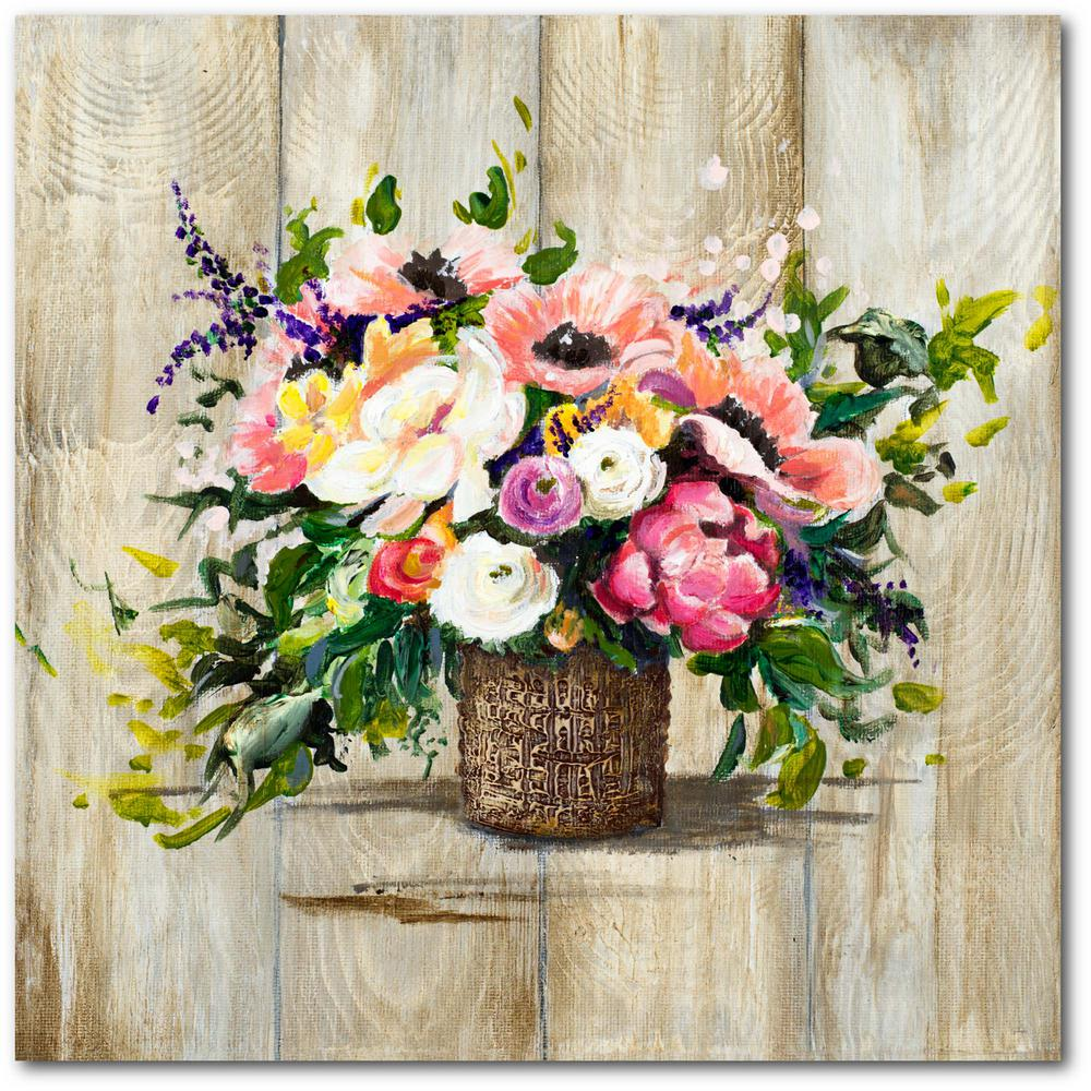 Courtside Market Basket With Flowers Gallery-Wrapped Canvas Nature Wall Art 24 in. x 24 in., Multi Color was $115.0 now $64.03 (44.0% off)