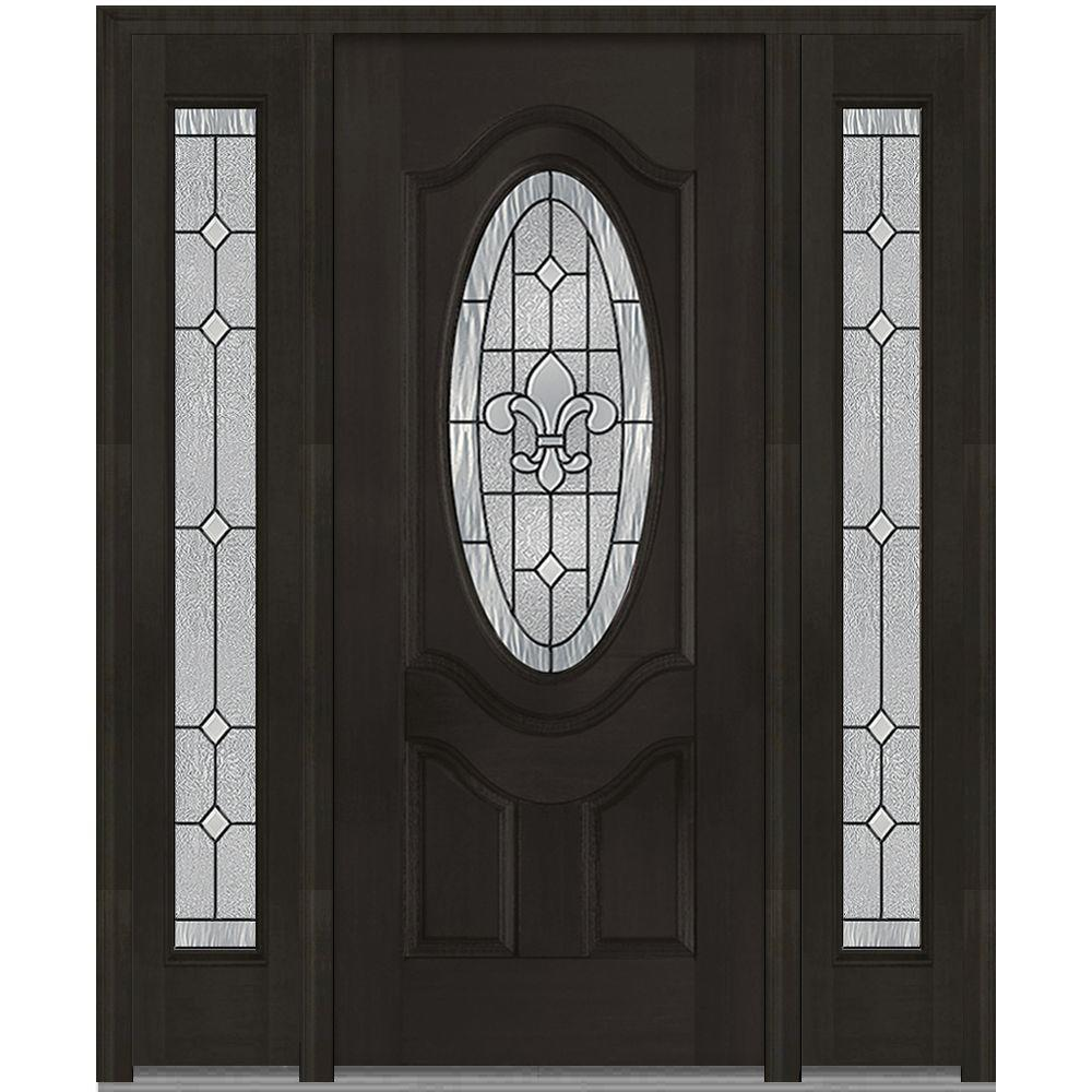 MMI Door 64 in. x 80 in. Carrollton Right-Hand Oval Lite Decorative Stained Fiberglass Mahogany Prehung Front Door with Sidelites