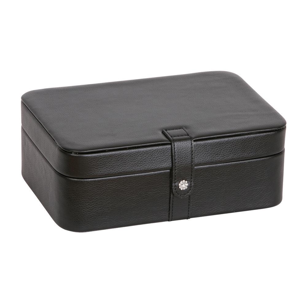 Lila Black Faux Leather Jewelry Box