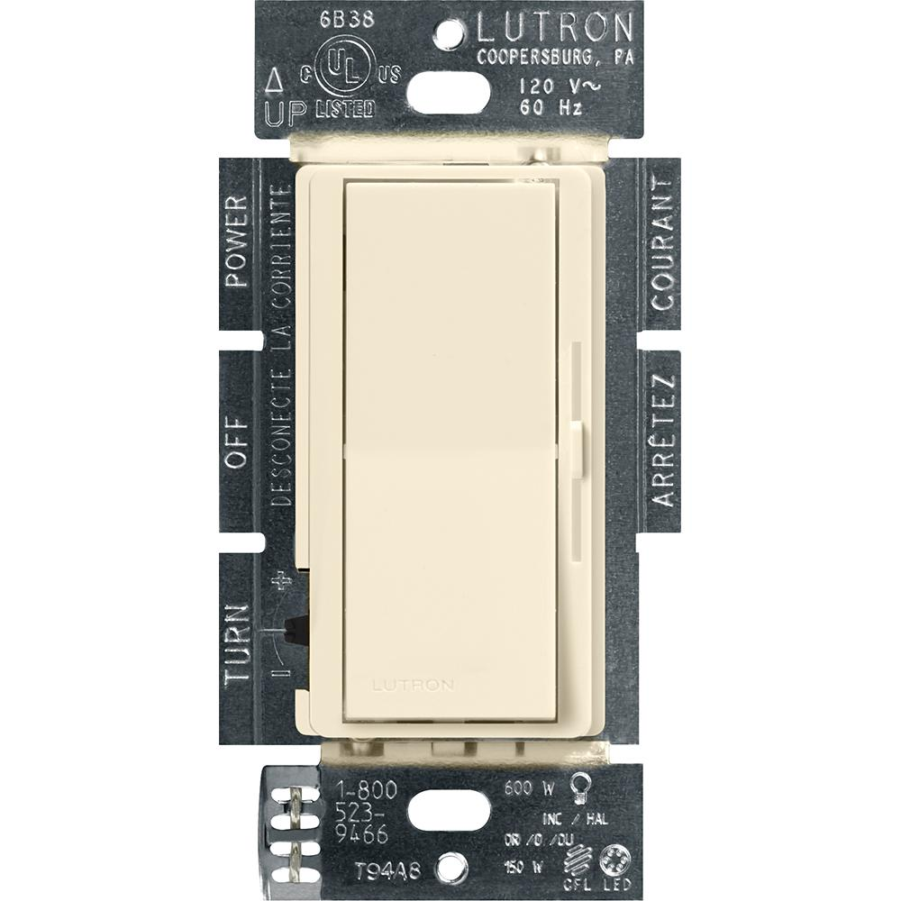 Lutron Diva C.L Dimmer Switch for Dimmable LED, Halogen and Incandescent Bulbs, Single-Pole or 3-Way, Almond