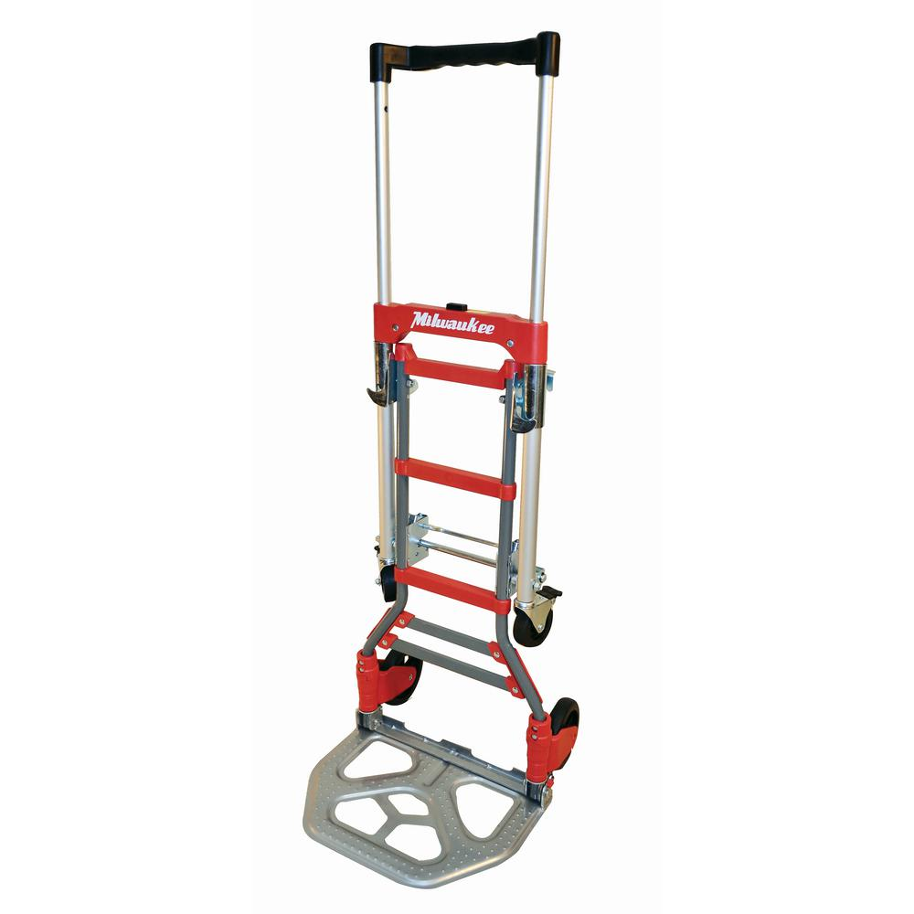 7de08e82ee84 Milwaukee 150 lb. vertical and 300 lb. horizontal Capacity Folding  Convertible hand Truck