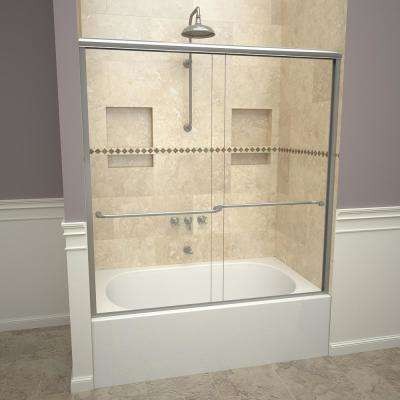 1200 Series 58-1/2 in. W x 57 in. H Semi-Frameless Sliding Tub Doors in Brushed Nickel with Towel Bar and Clear Glass