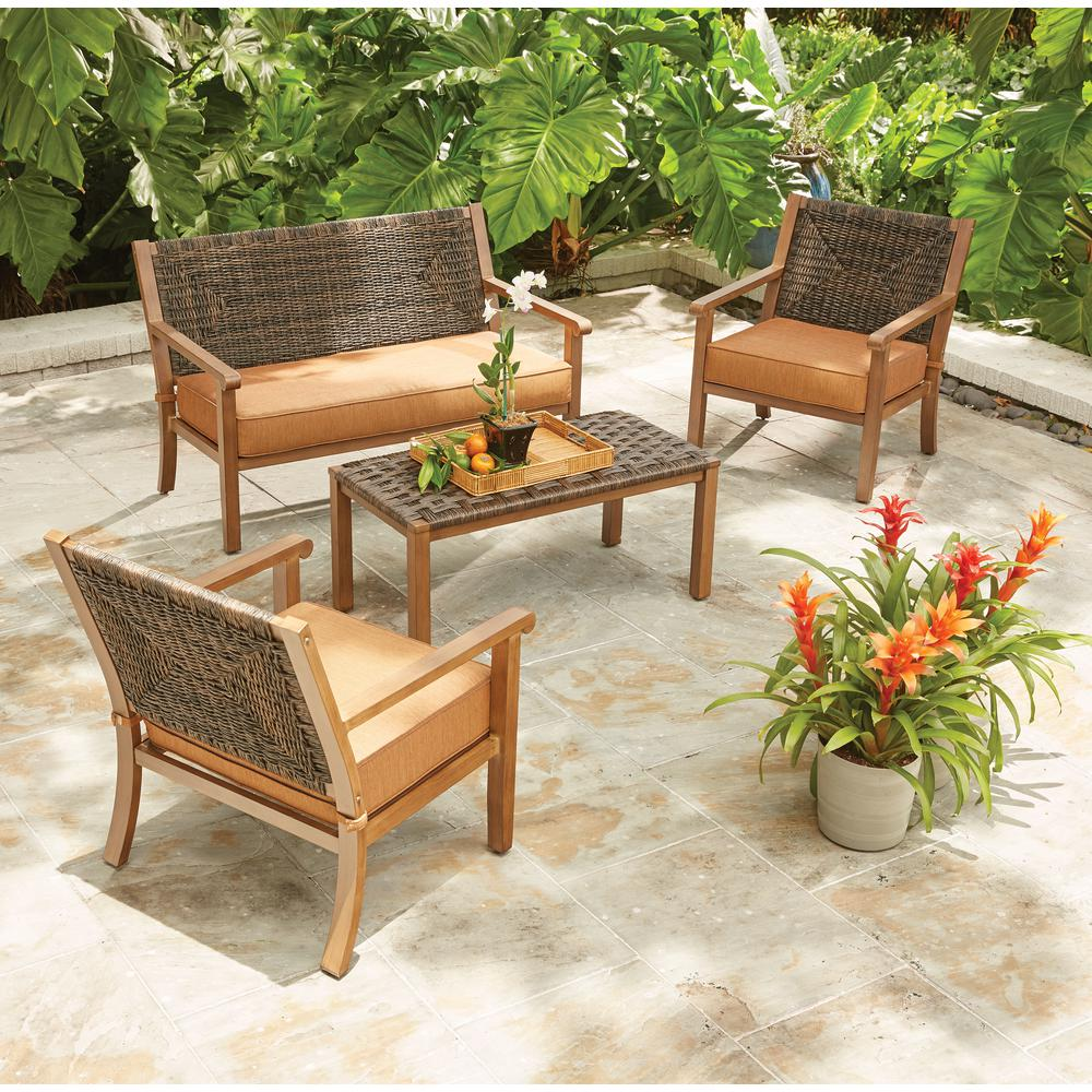 Hampton bay kapolei 4 piece wicker patio conversation set with reddish brown cushions