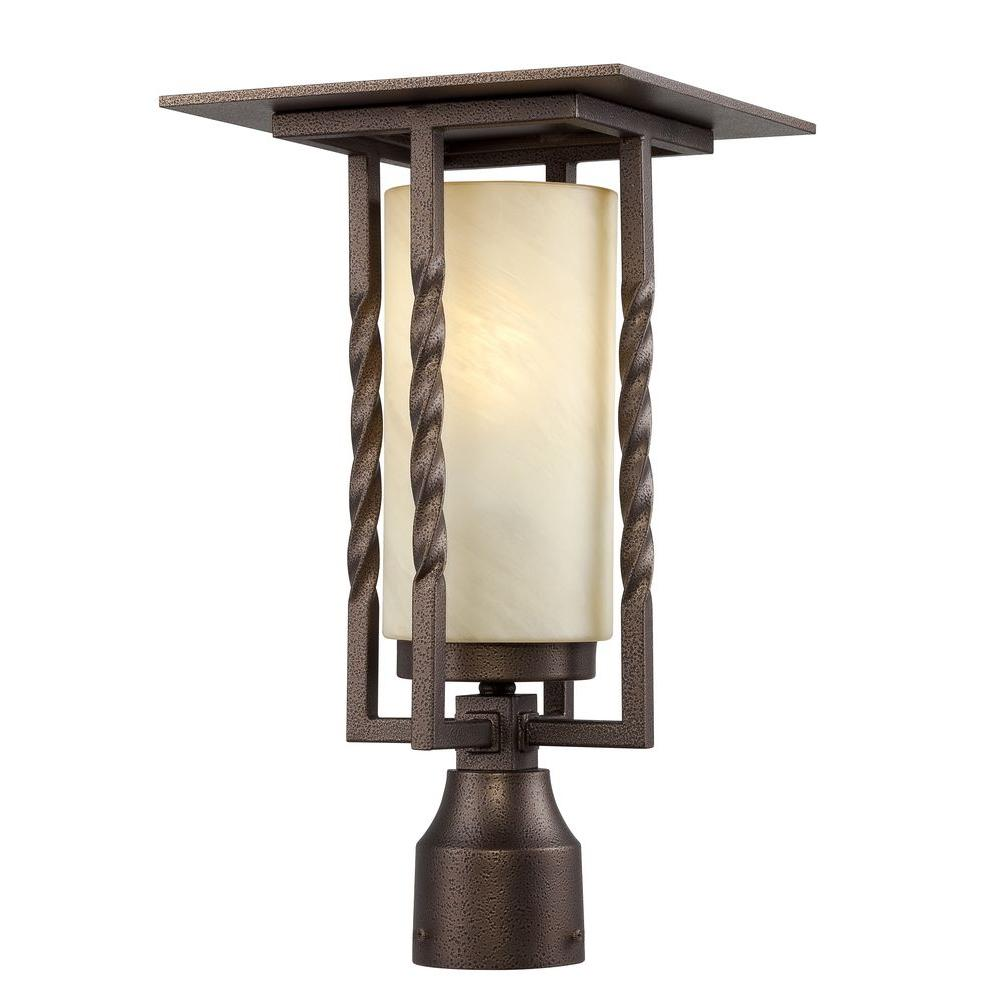 Parkview 1-Light Flemish Bronze Outdoor Post Lantern with Tea Stained French
