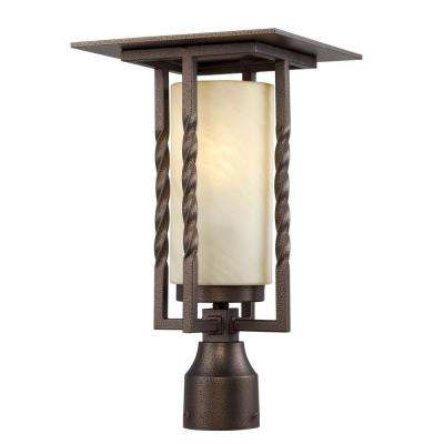 Parkview 1-Light Flemish Bronze Outdoor Post Lantern with Tea Stained French Swirl Glass Shade