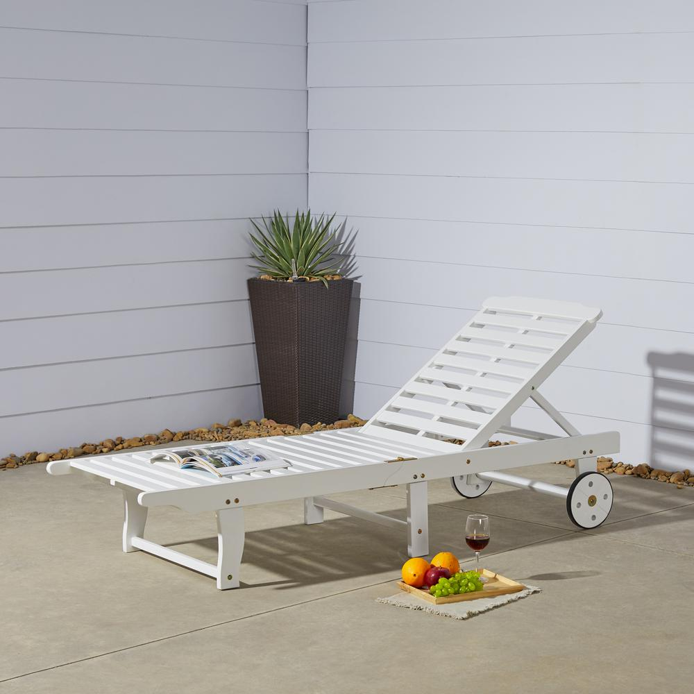Vifah Bradley White Wood Outdoor Chaise Lounge-V1804 - The ...