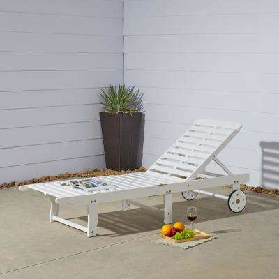 Bradley White Wood Outdoor Chaise Lounge