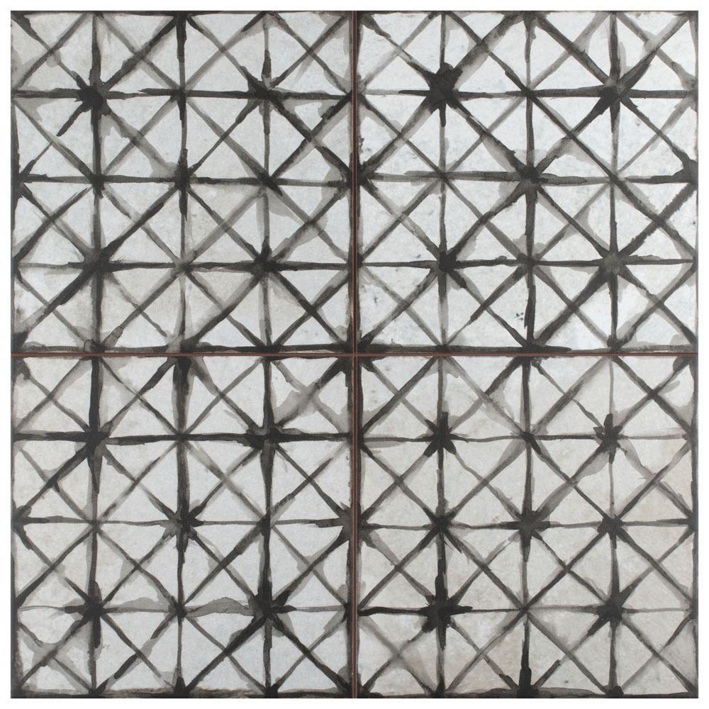 Kings Temple Nero Encaustic 17-5/8 in. x 17-5/8 in. Ceramic Floor and Wall Tile
