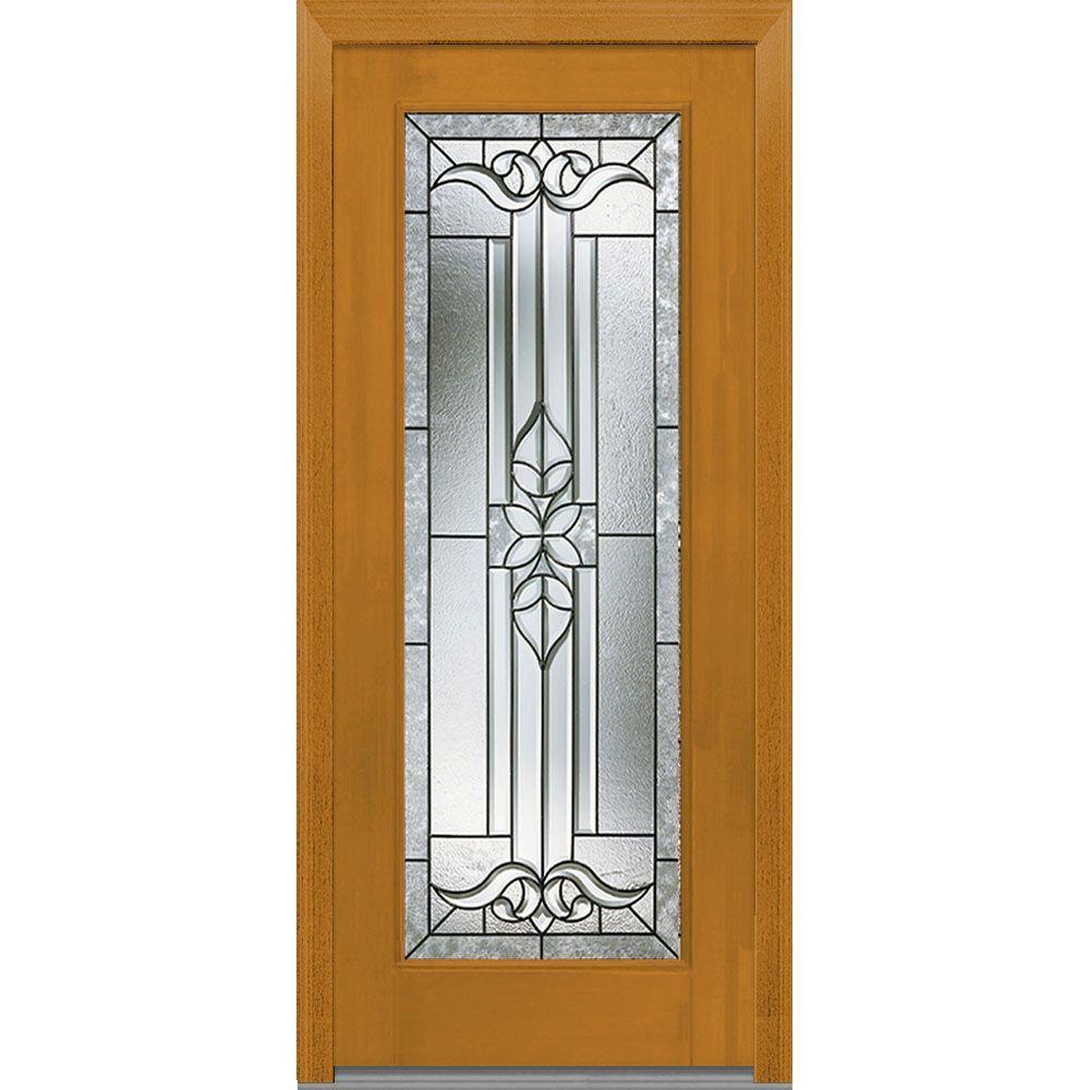 Mmi Door 37 5 In X In Cadence Decorative Glass Full Lite Finished Fiberglass Mahogany