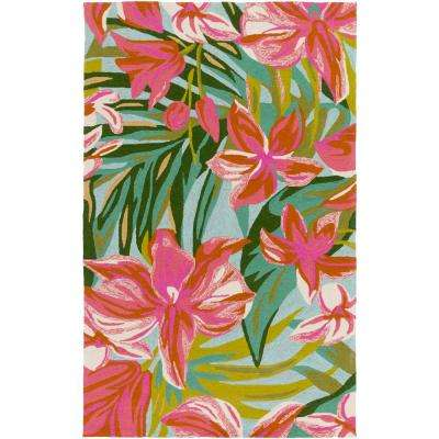 Chasmanthe Bright Pink 5 ft. x 8 ft. Indoor/Outdoor Area Rug