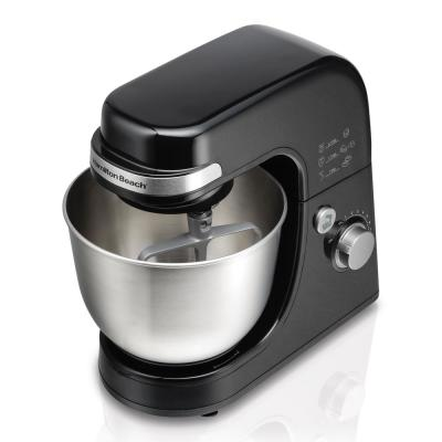 4 Qt. 7-Speed Black Stand Mixer with Dough Hook, Whisk and Flat Beater Attachments