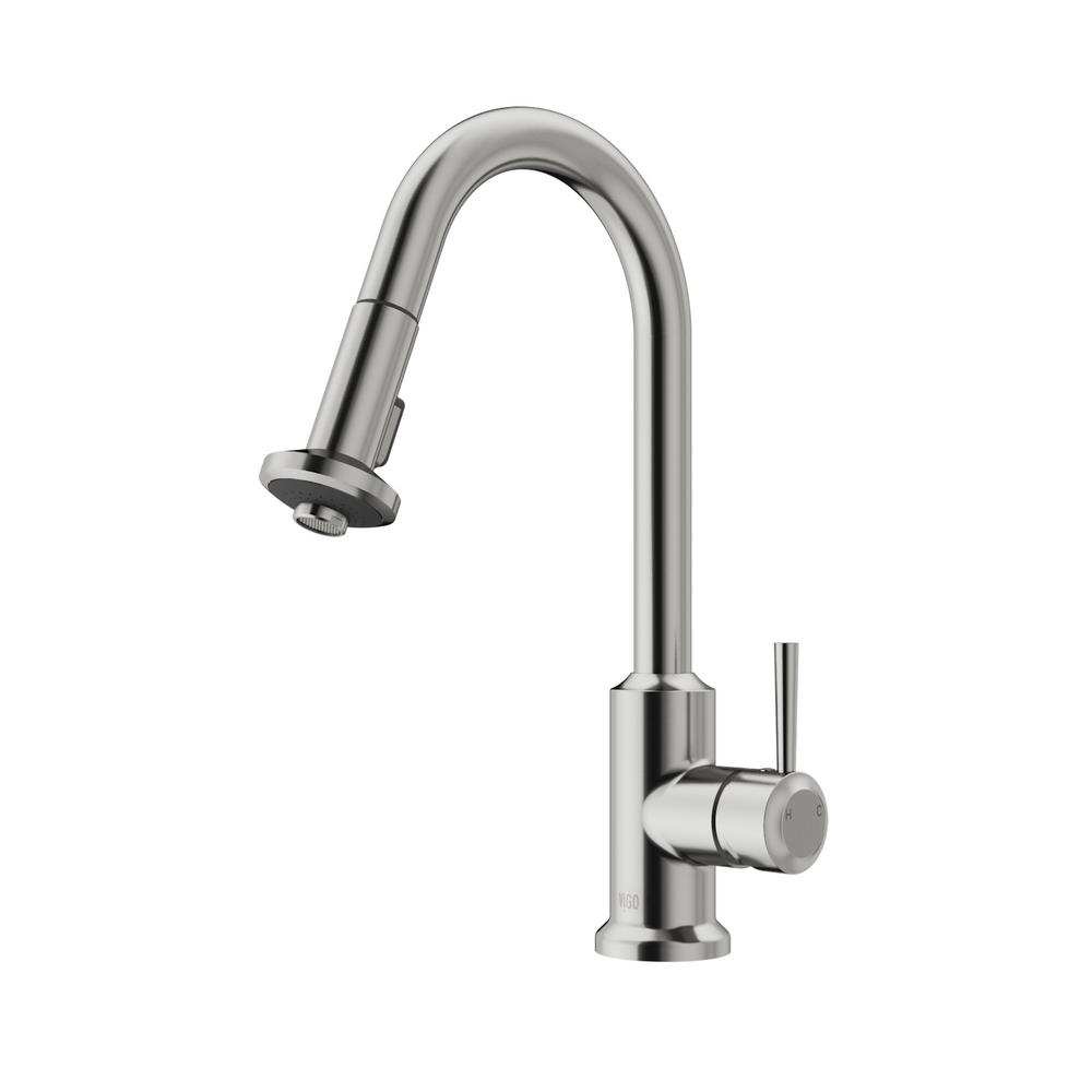 kitchen faucets stainless steel pull out vigo single handle pull out sprayer kitchen faucet in 24694