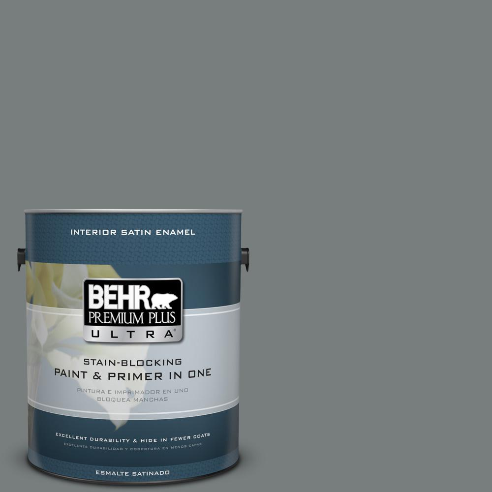 1 gal. #PPU25-18 Shutter Gray Satin Enamel Interior Paint