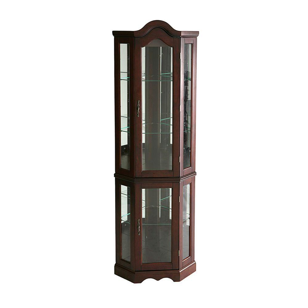 Merveilleux Southern Enterprises Priscilla Golden Oak Glass Door Curio Cabinet HD888392    The Home Depot