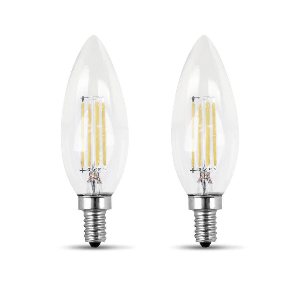 60-Watt Equivalent B10 Candelabra Dimmable Filament LED ENERGY STAR Clear Glass