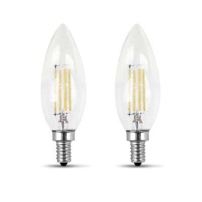 60-Watt Equivalent B10 Candelabra Dimmable Filament CEC Clear Glass Chandelier LED Light Bulb, Soft White (2-Pack)