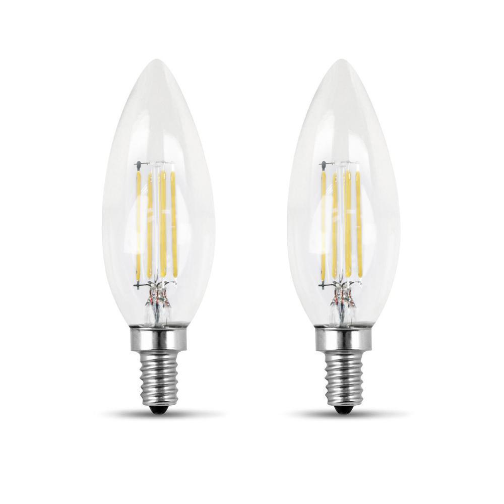 60-Watt Equivalent B10 Candelabra Dimmable Filament CEC Clear Glass Chandelier LED Light Bulb, Soft White (2-Pack)