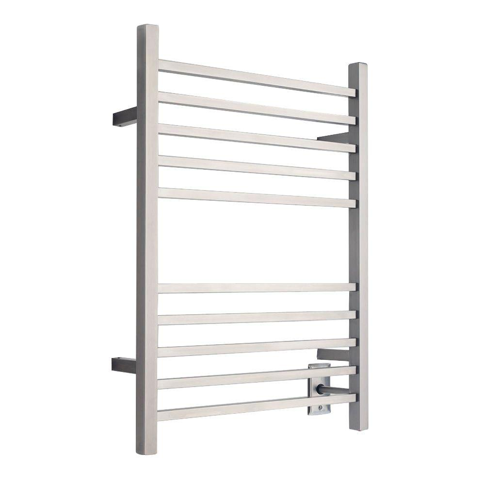 Amba Radiant Square Hardwired 24 in. W x 32 in. H 10-Bar Electric Towel Warmer in Brushed Stainless Steel