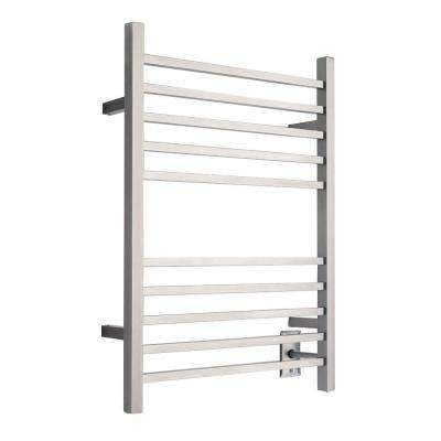 Radiant Square Hardwired 24 in. W x 32 in. H 10-Bar Electric Towel Warmer in Brushed Stainless Steel
