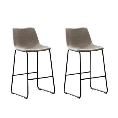 Clermont 39 in. Grey Upholstered Bar Stool (Set of 2)