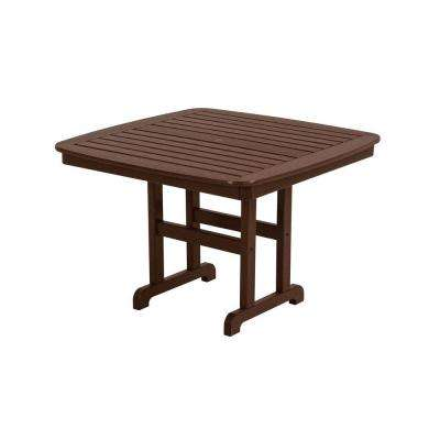 Nautical 44 in. Mahogany Plastic Outdoor Patio Dining Table