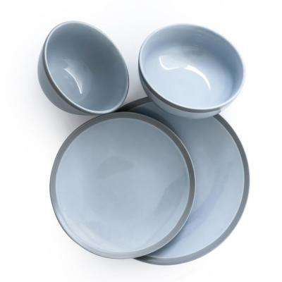 West Side 16-Piece Blue Dinnerware Set