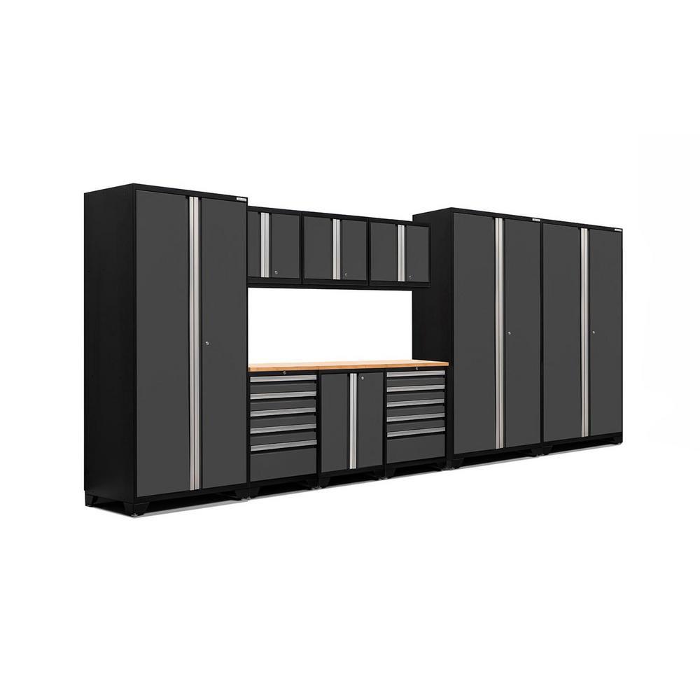 Pro 3.0 83.25 in. H x 192 in. W x 24 in. D 18-Gauge Welded Steel Bamboo Worktop Cabinet Set in Gray (10-Piece)