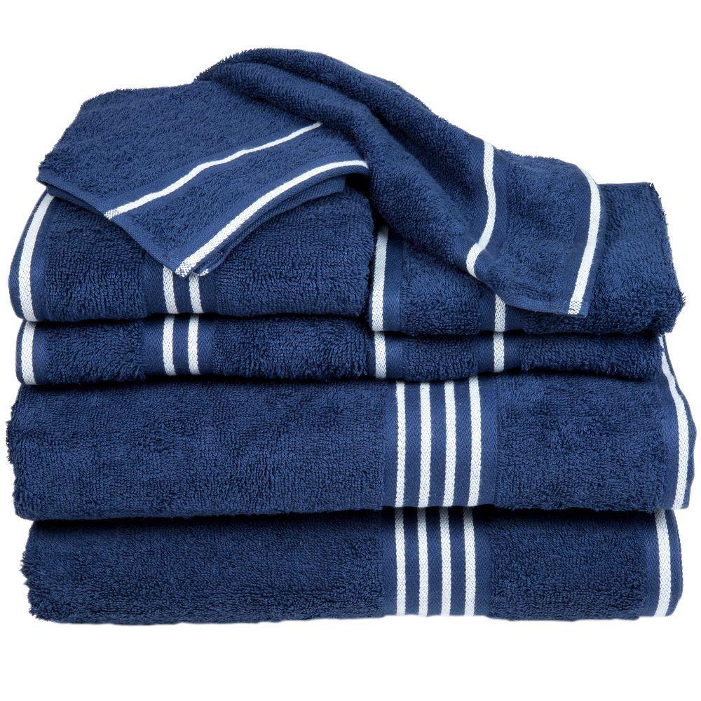 0ef4a8e9e05b Lavish Home Rio Egyptian Cotton Towel Set in Navy (8-Piece) 67-0022 ...
