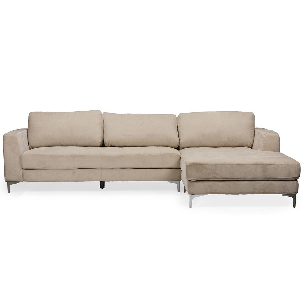 Agnew 2-Piece Mid-Century Beige Fabric Upholstered Right Facing Chase Sectional