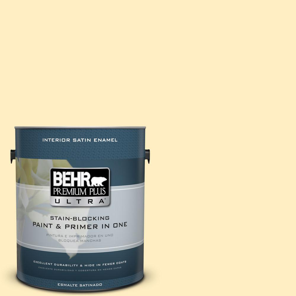 BEHR Premium Plus Ultra 1-gal. #380A-2 Moonlit Yellow Satin Enamel Interior Paint