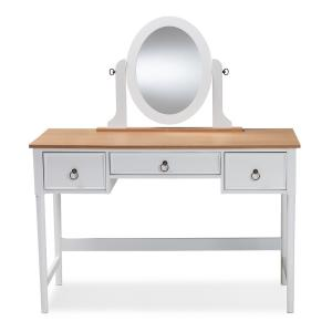 Baxton Studio Sylvie White and Natural Bedroom Vanity Table ...