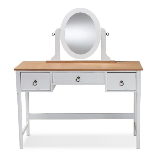 Baxton Studio Sylvie White and Natural Bedroom Vanity Table 154-9038 ...
