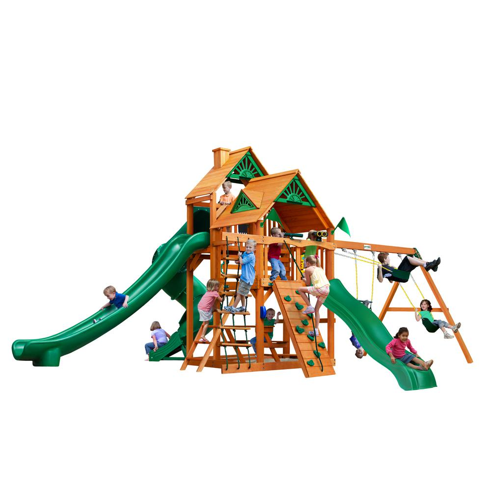 Gorilla Playsets Great Skye II Wooden Playset with 3 Slides and Rock Wall