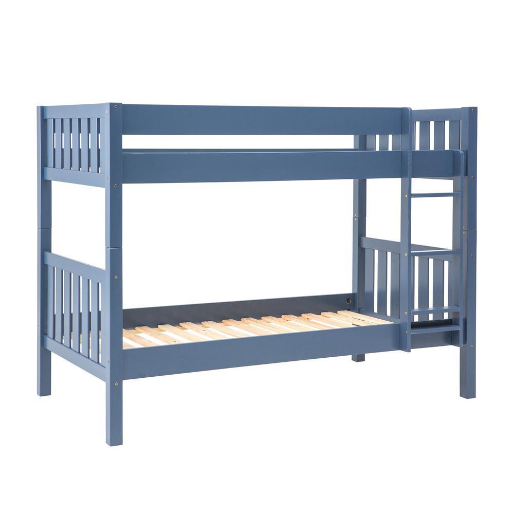 Blue Solid Wood Cottage Slat Bunk Bed