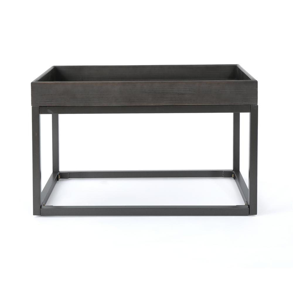 Homer Gray Faux Wood Coffee Table with Black Iron Frame
