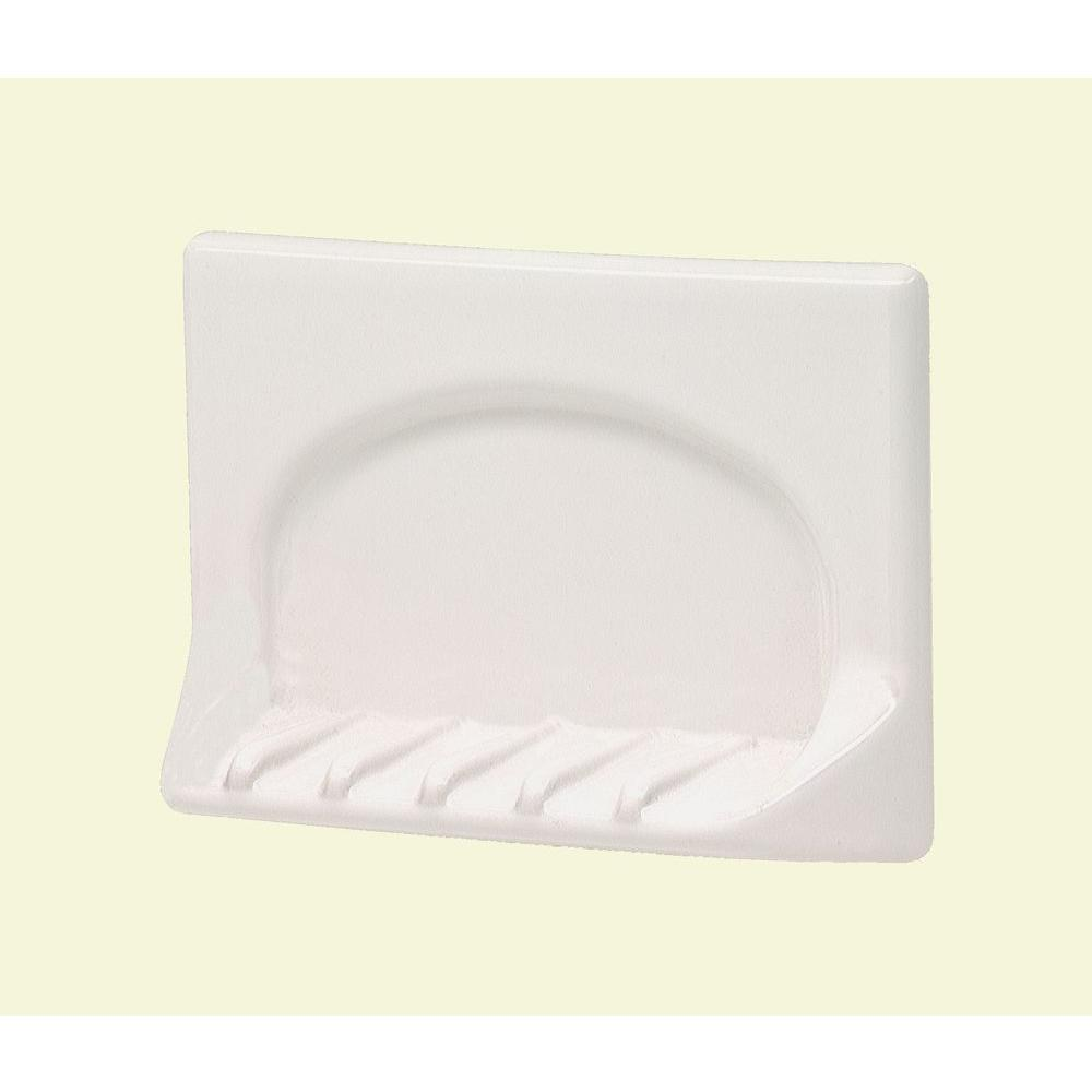 Lenape 4 in. x 6 in. Wall-Mounted Ceramic Tub Soap Dish in White