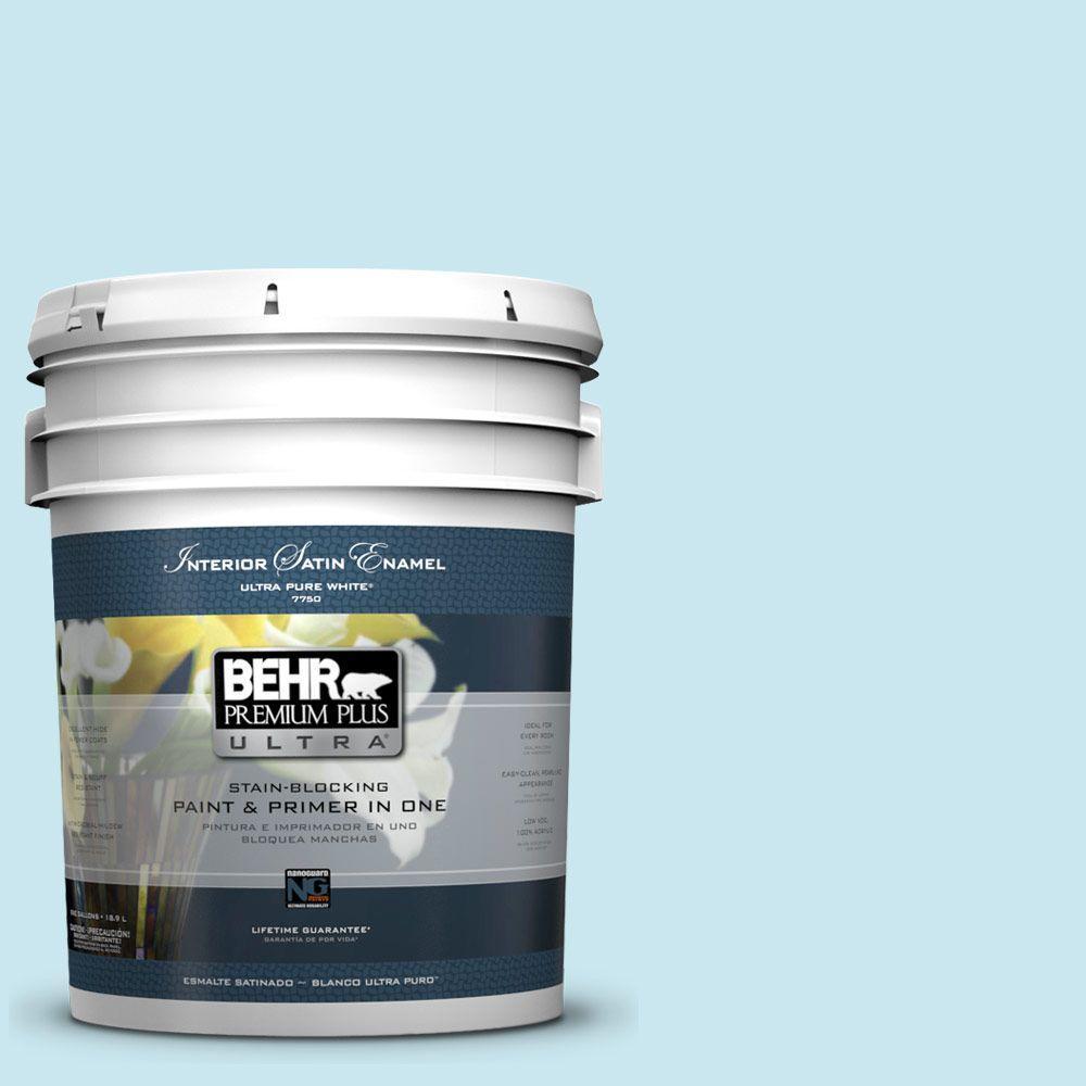 BEHR Premium Plus Ultra 5-gal. #530C-2 Clear Water Satin Enamel Interior Paint