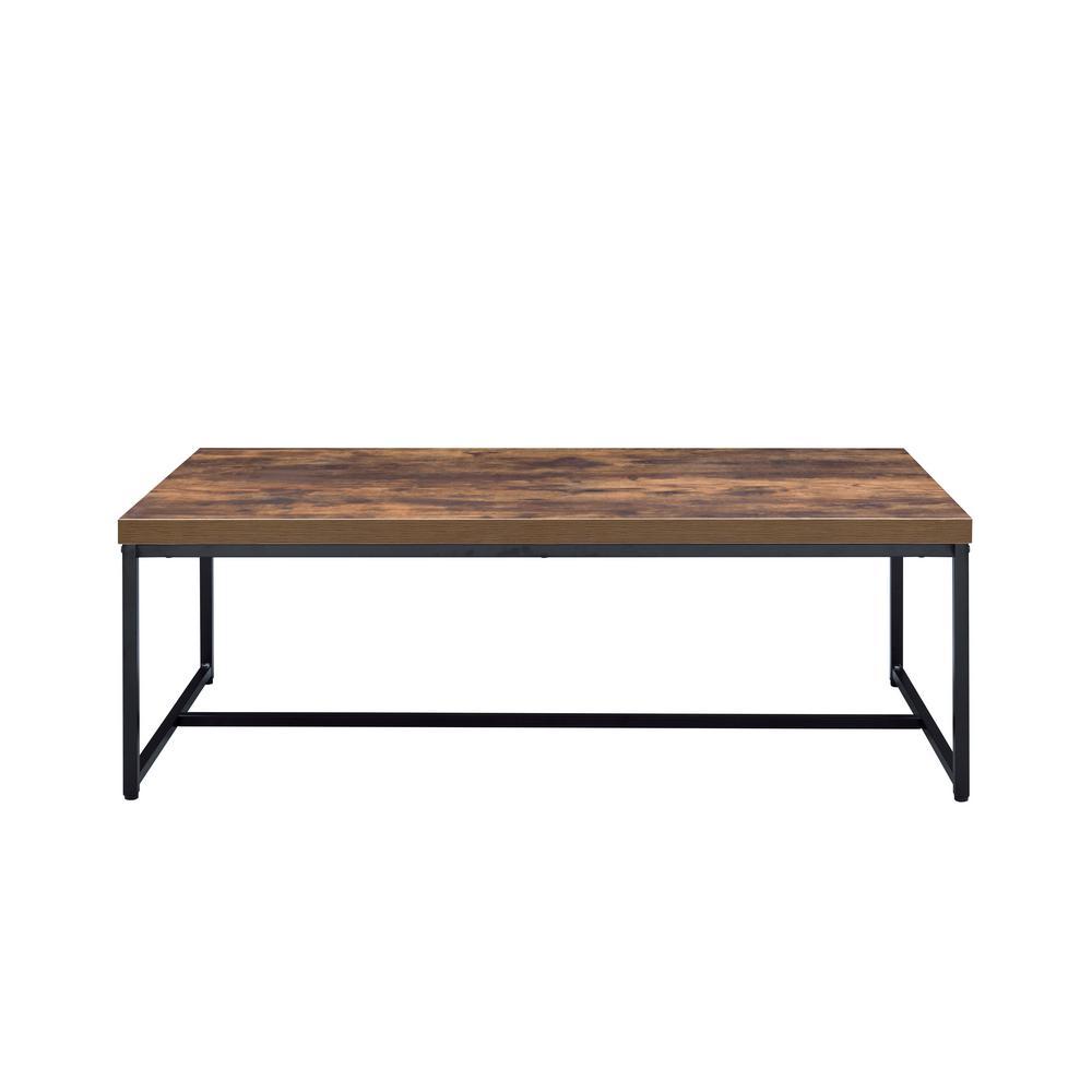 Weathered Oak Brown and Black Metal Framed Coffee Table with veneer Top